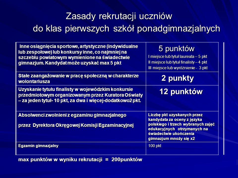 Zasady rekrutacji uczniów do klas pierwszych szkół ponadgimnazjalnych