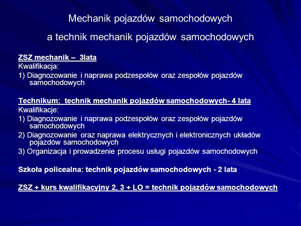 Mechanik pojazdów samochodowych a technik mechanik pojazdów samochodowych