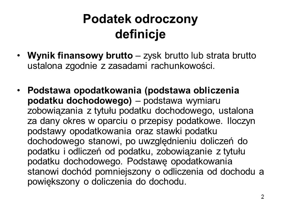 Podatek odroczony definicje