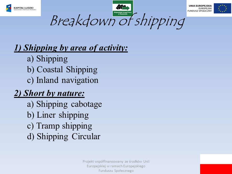 Breakdown of shipping 1) Shipping by area of ​​activity: a) Shipping b) Coastal Shipping c) Inland navigation.