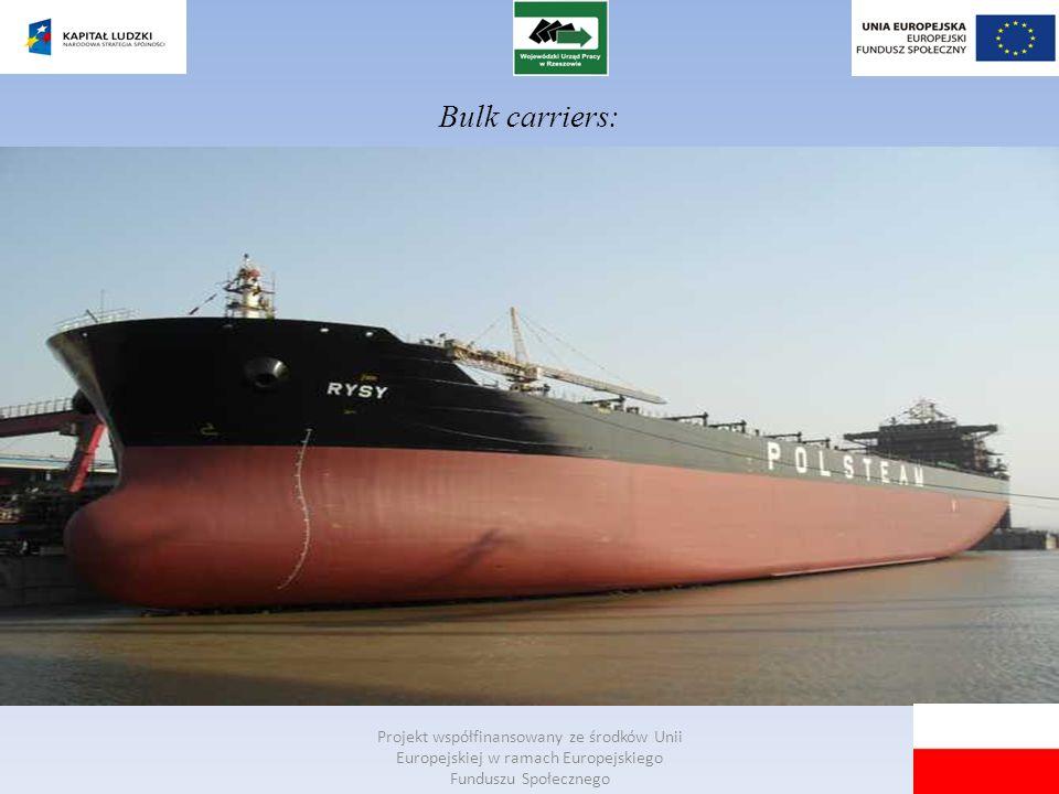 Bulk carriers: Projekt współfinansowany ze środków Unii Europejskiej w ramach Europejskiego Funduszu Społecznego.
