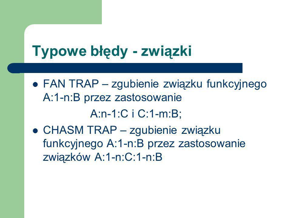Typowe błędy - związkiFAN TRAP – zgubienie związku funkcyjnego A:1-n:B przez zastosowanie. A:n-1:C i C:1-m:B;