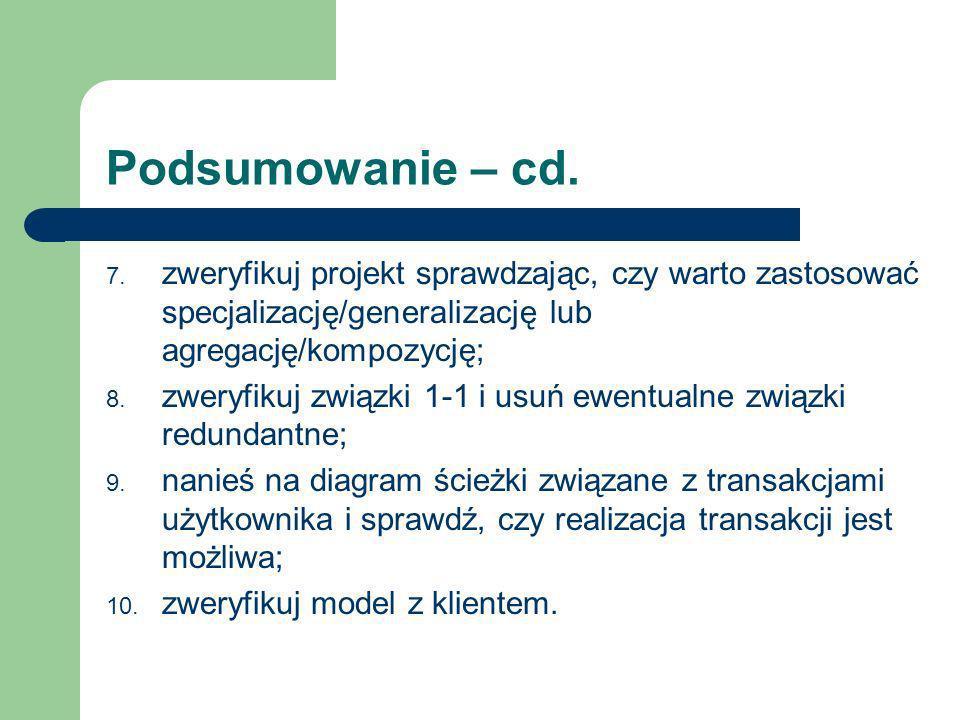 Podsumowanie – cd.zweryfikuj projekt sprawdzając, czy warto zastosować specjalizację/generalizację lub agregację/kompozycję;