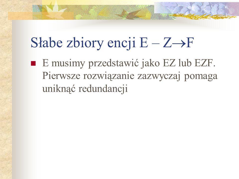 Słabe zbiory encji E – ZF