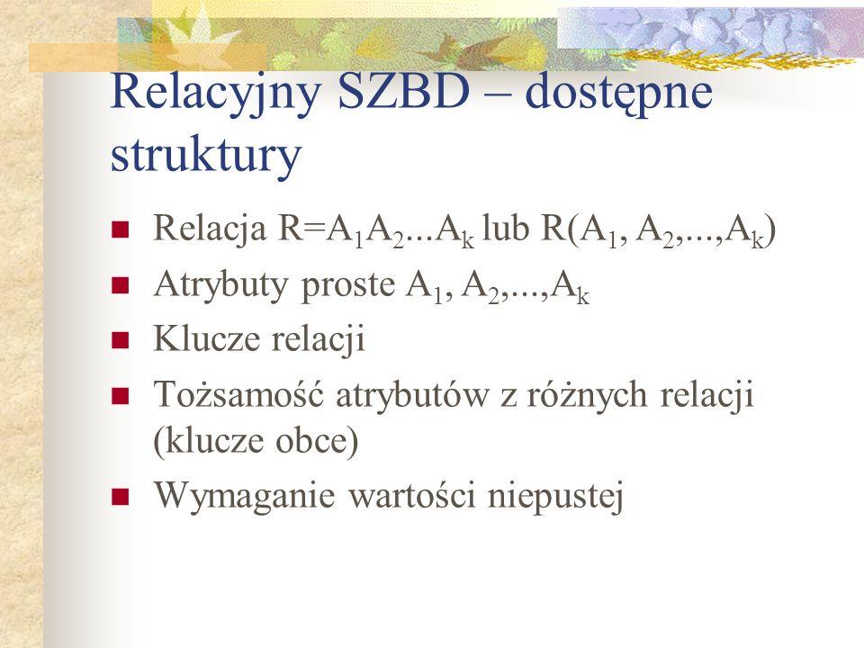Relacyjny SZBD – dostępne struktury