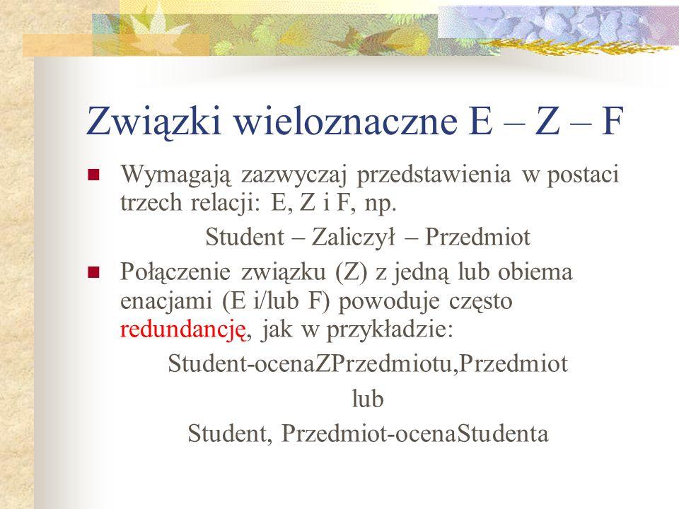 Związki wieloznaczne E – Z – F