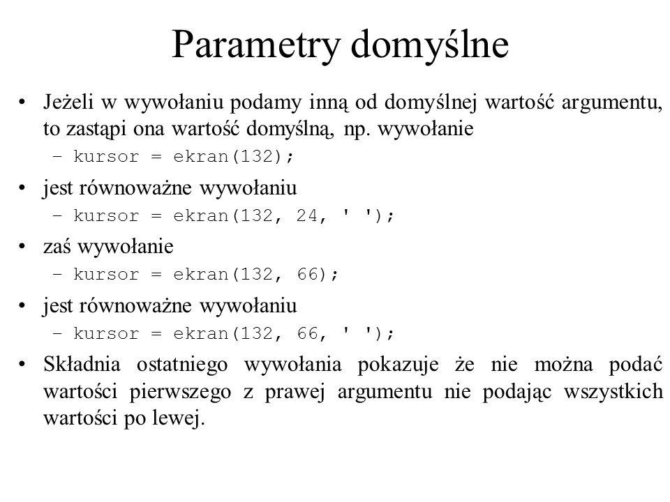 Parametry domyślneJeżeli w wywołaniu podamy inną od domyślnej wartość argumentu, to zastąpi ona wartość domyślną, np. wywołanie.