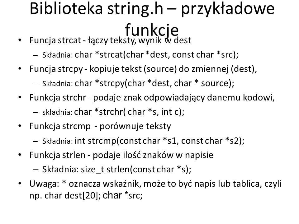 Biblioteka string.h – przykładowe funkcje