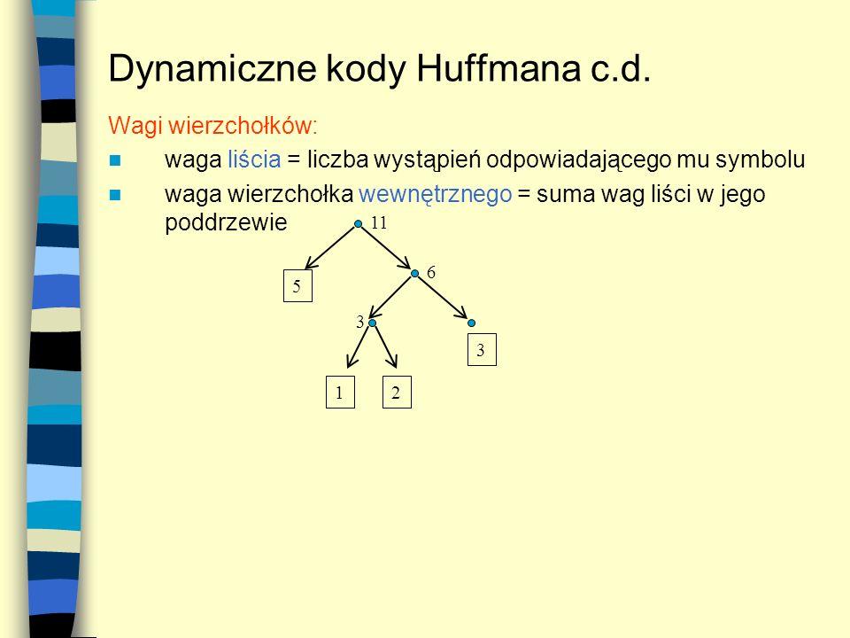 Dynamiczne kody Huffmana c.d.