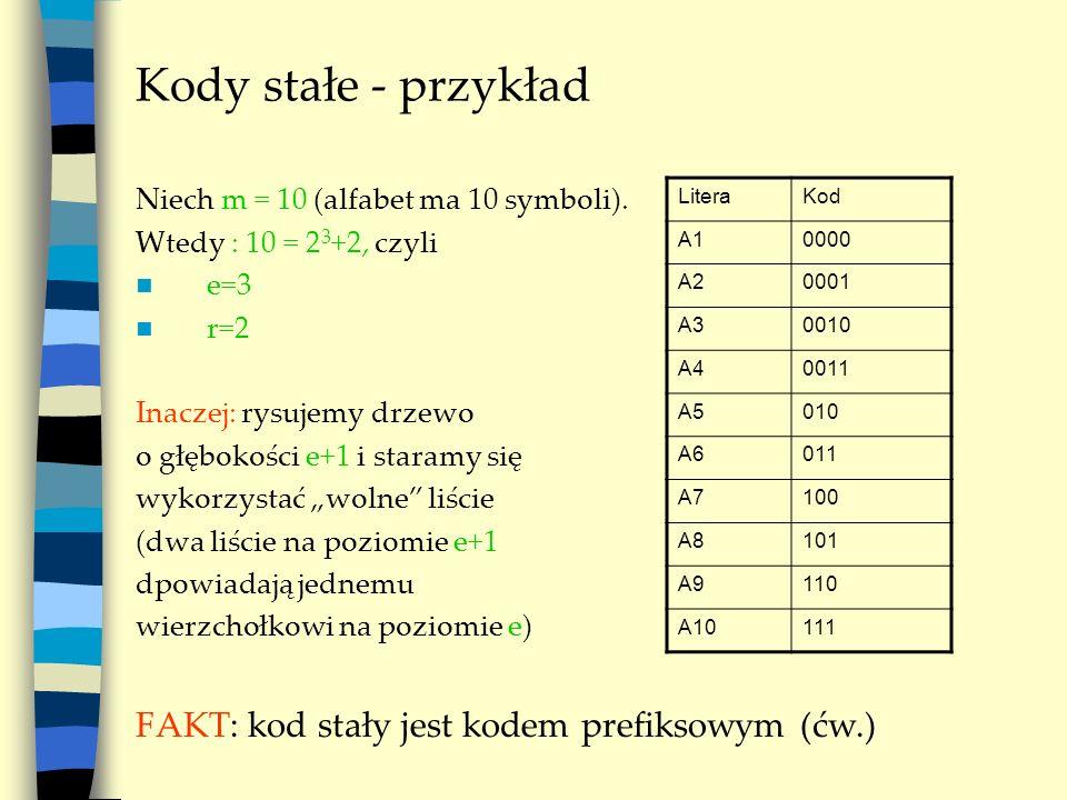 Kody stałe - przykład FAKT: kod stały jest kodem prefiksowym (ćw.)