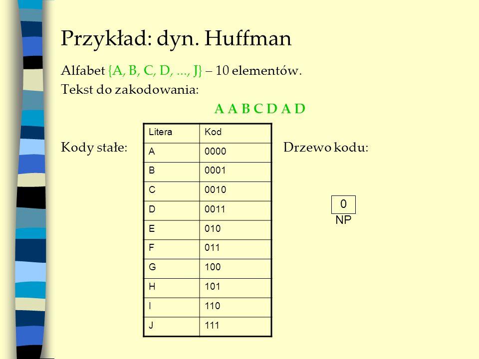 Przykład: dyn. Huffman Alfabet {A, B, C, D, ..., J} – 10 elementów.