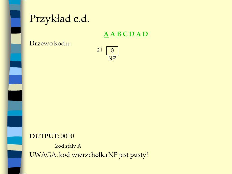 Przykład c.d. A A B C D A D Drzewo kodu: OUTPUT: 0000 kod stały A