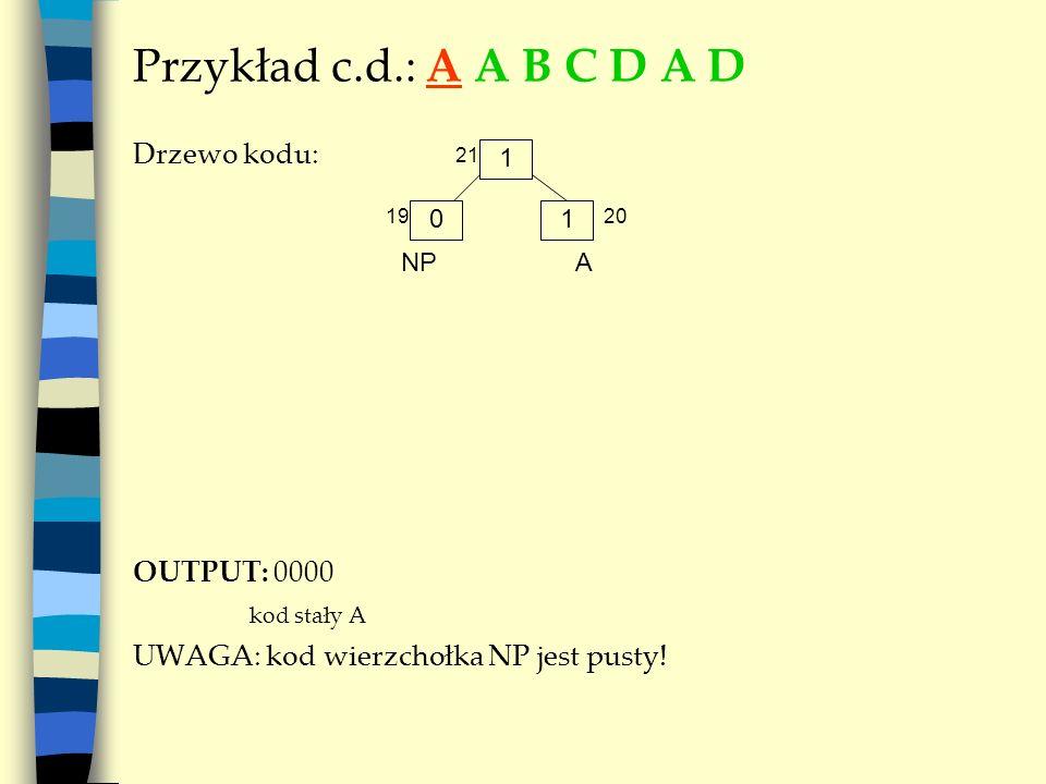 Przykład c.d.: A A B C D A D Drzewo kodu: OUTPUT: 0000 kod stały A