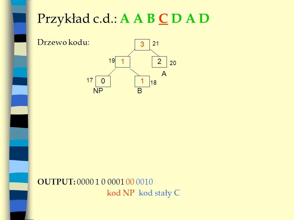 Przykład c.d.: A A B C D A D Drzewo kodu: