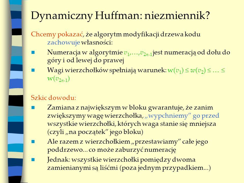 Dynamiczny Huffman: niezmiennik