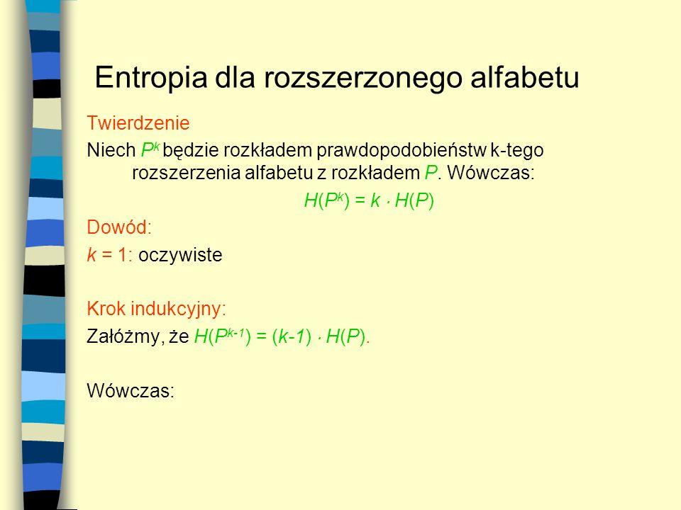 Entropia dla rozszerzonego alfabetu