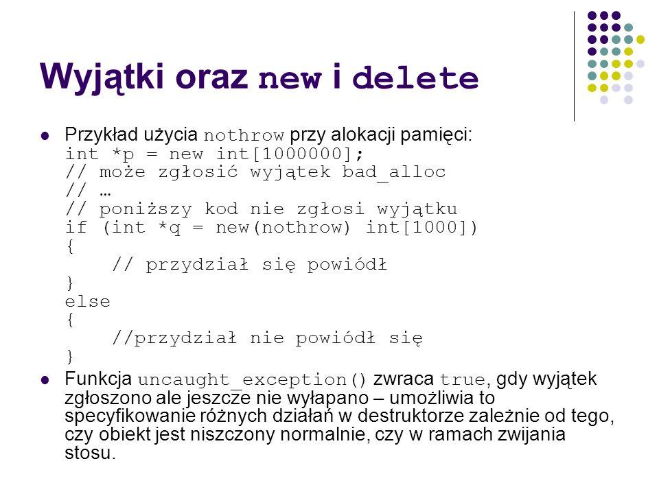 Wyjątki oraz new i delete