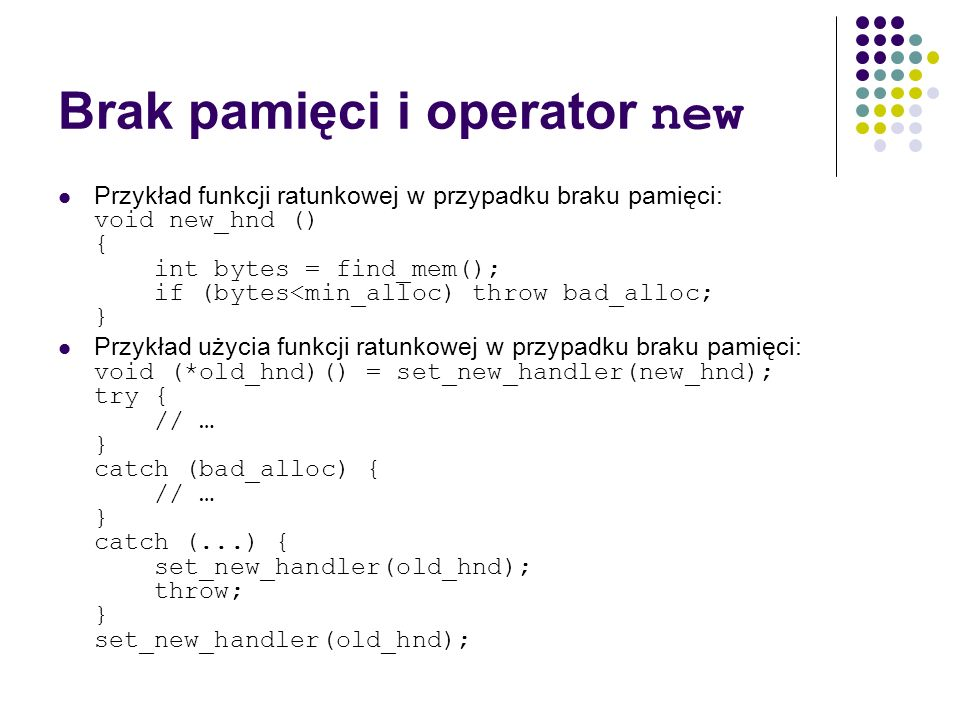 Brak pamięci i operator new