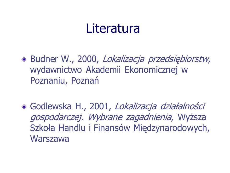 Literatura Budner W., 2000, Lokalizacja przedsiębiorstw, wydawnictwo Akademii Ekonomicznej w Poznaniu, Poznań.