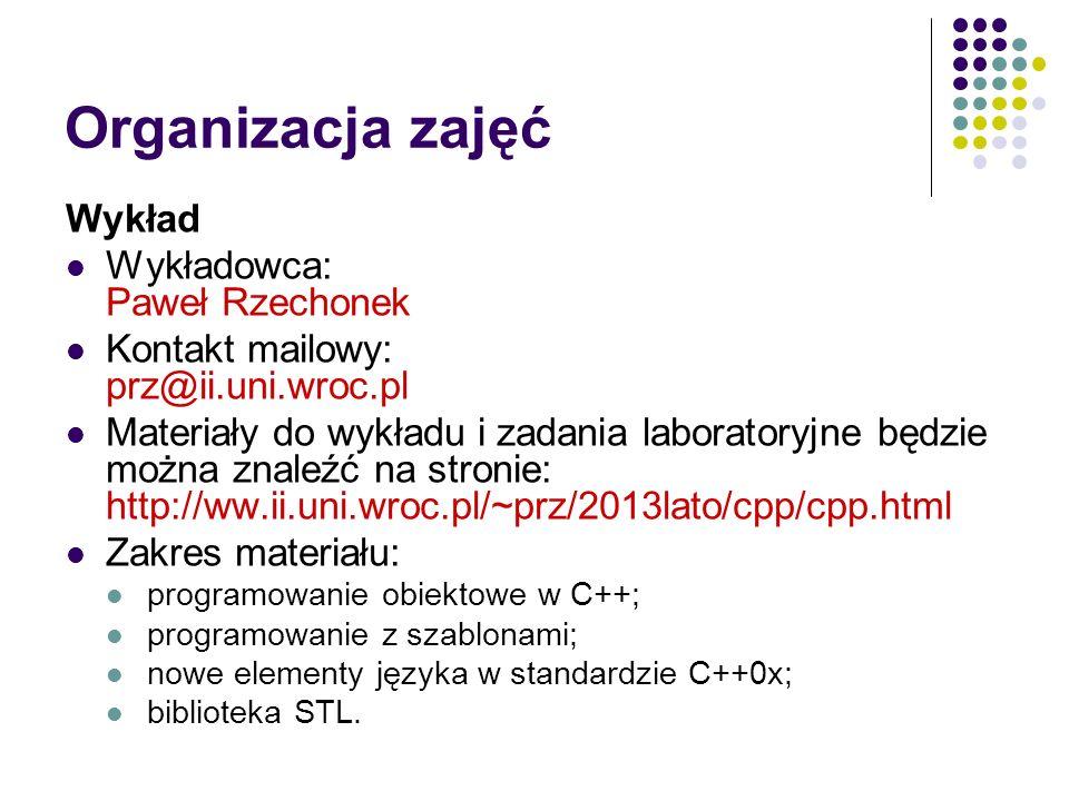 Organizacja zajęć Wykład Wykładowca: Paweł Rzechonek