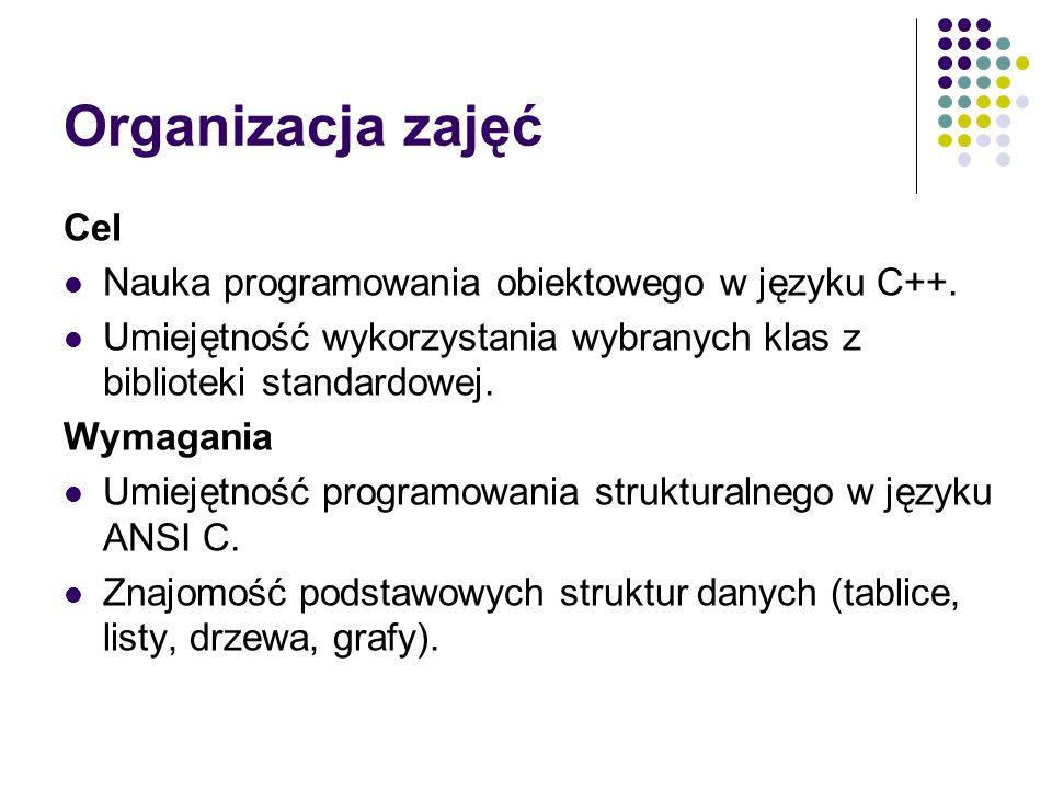 Organizacja zajęć Cel Nauka programowania obiektowego w języku C++.