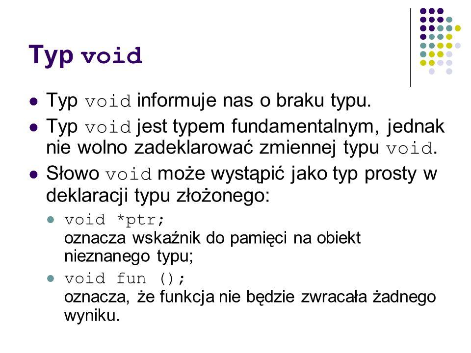 Typ void Typ void informuje nas o braku typu.
