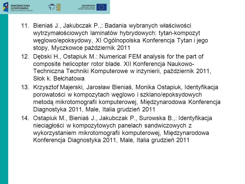 Bieniaś J., Jakubczak P.,: Badania wybranych właściwości wytrzymałościowych laminatów hybrydowych: tytan-kompozyt węglowo/epoksydowy, XI Ogólnopolska Konferencja Tytan i jego stopy, Myczkowce październik 2011