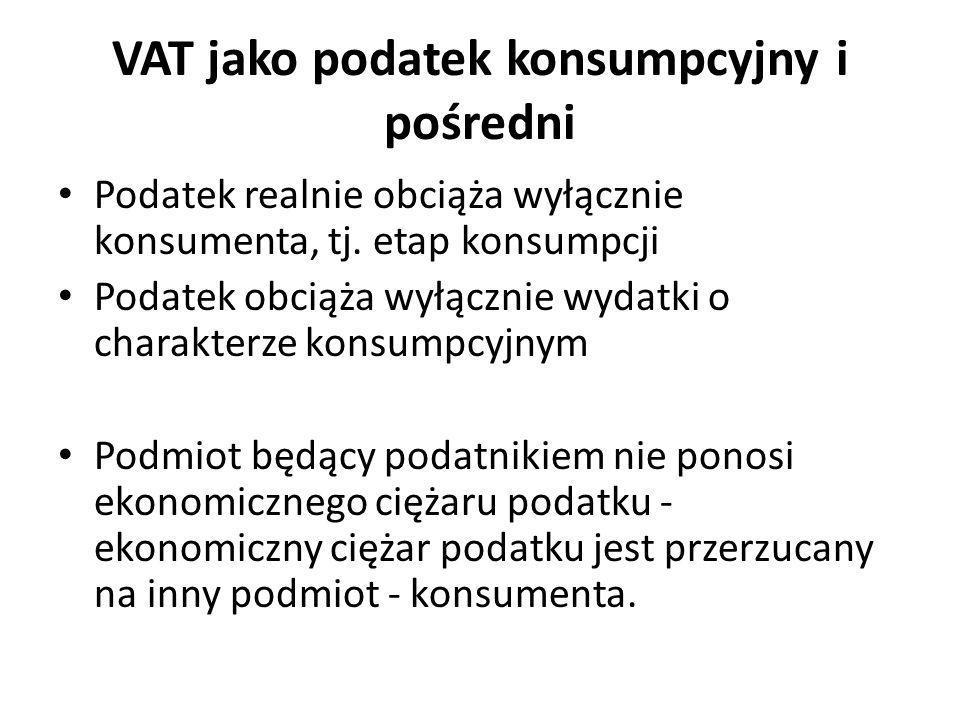 VAT jako podatek konsumpcyjny i pośredni