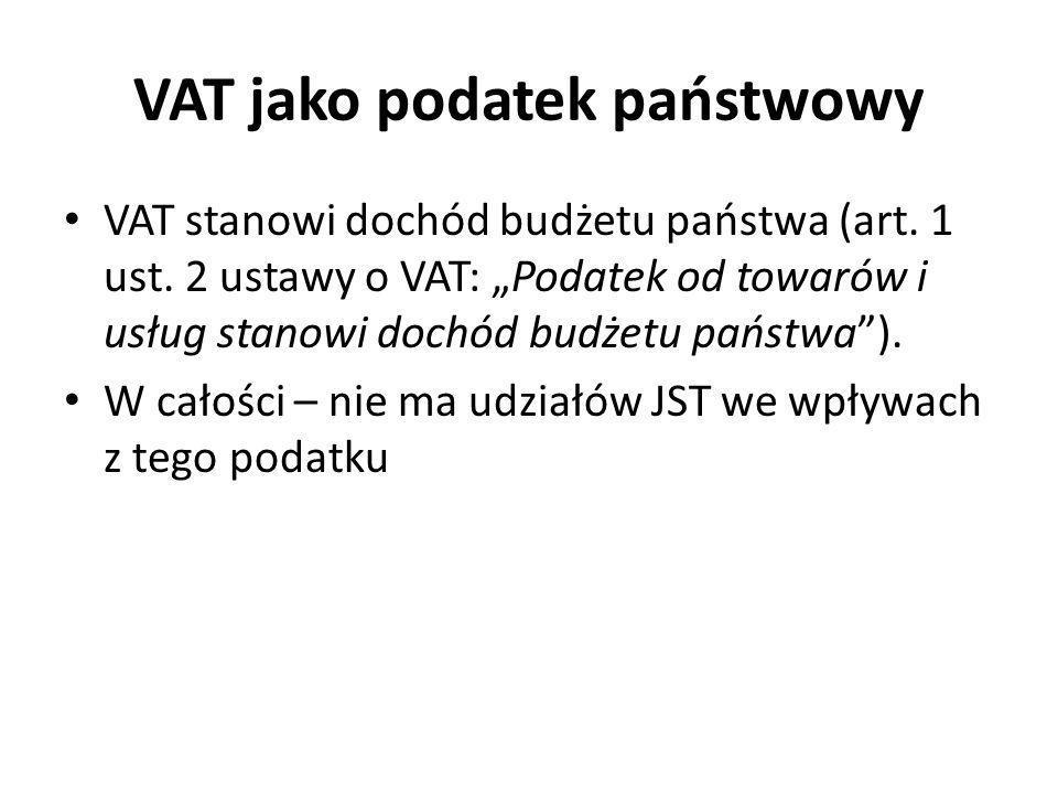 VAT jako podatek państwowy