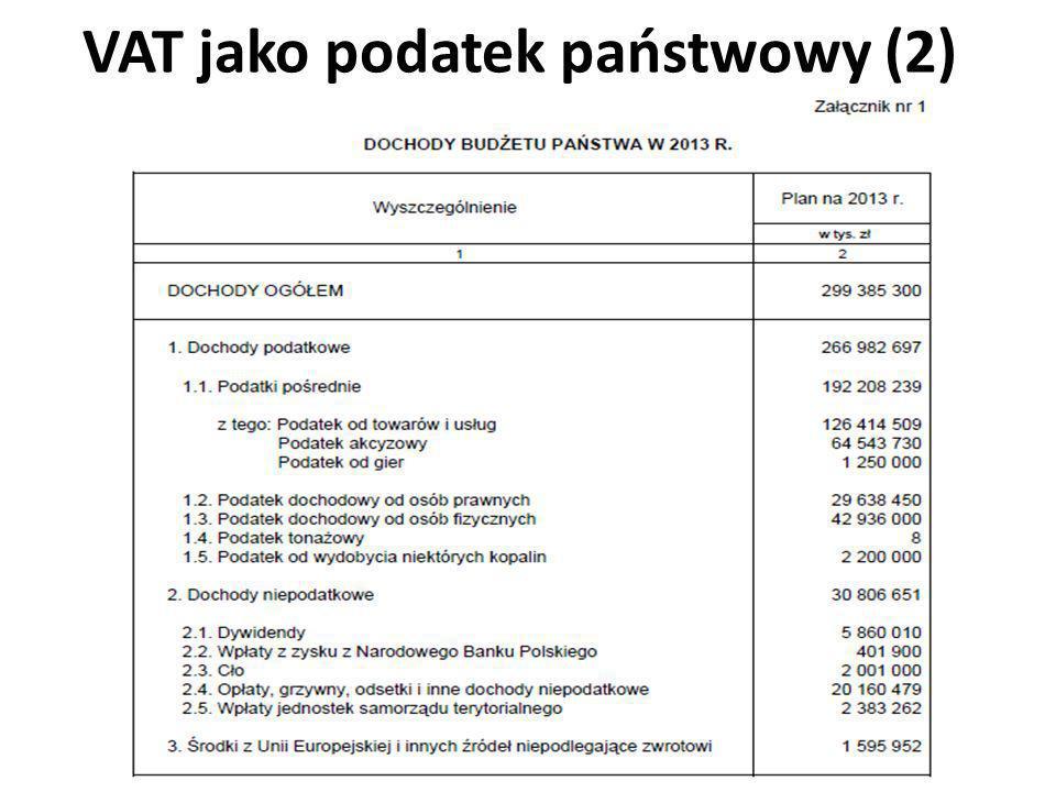 VAT jako podatek państwowy (2)