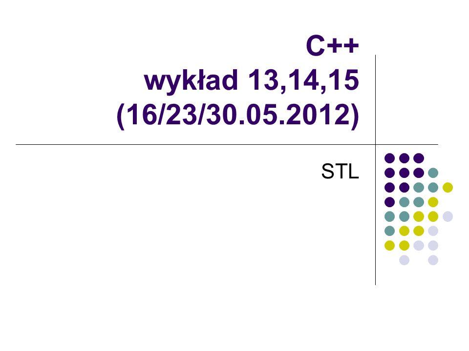 C++ wykład 13,14,15 (16/23/30.05.2012) STL