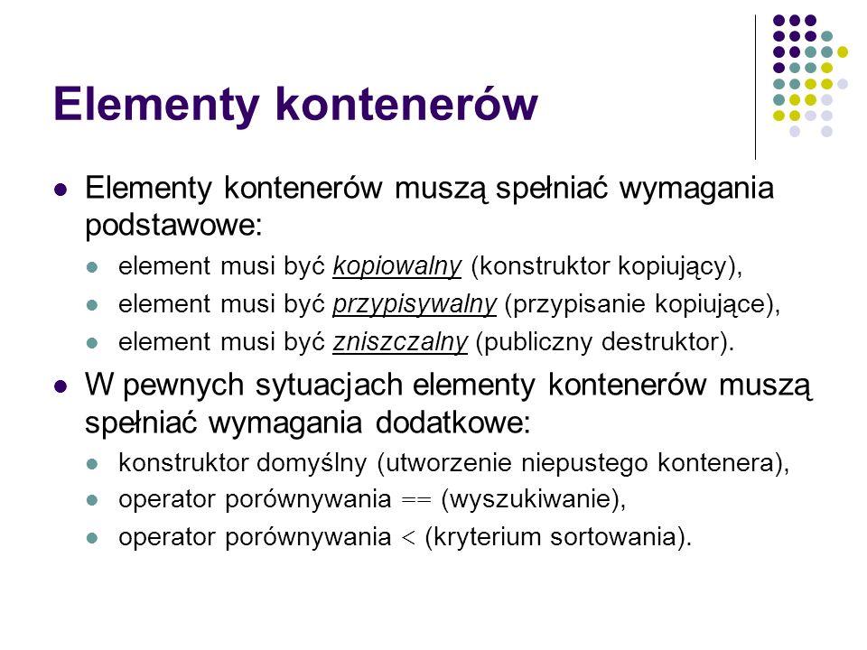 Elementy kontenerów Elementy kontenerów muszą spełniać wymagania podstawowe: element musi być kopiowalny (konstruktor kopiujący),