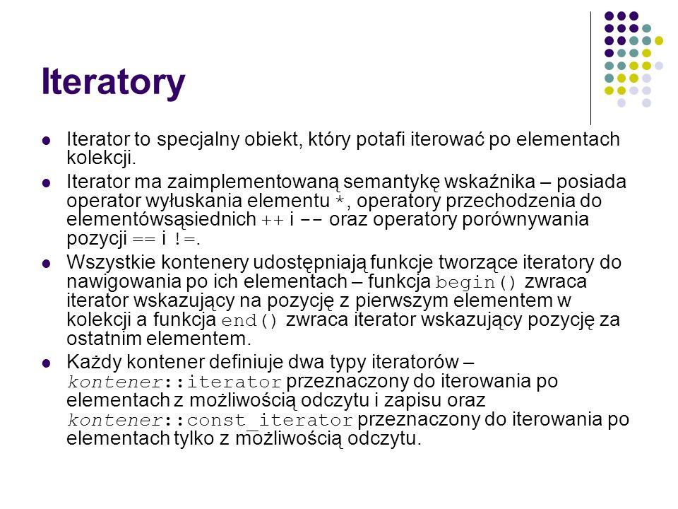 Iteratory Iterator to specjalny obiekt, który potafi iterować po elementach kolekcji.