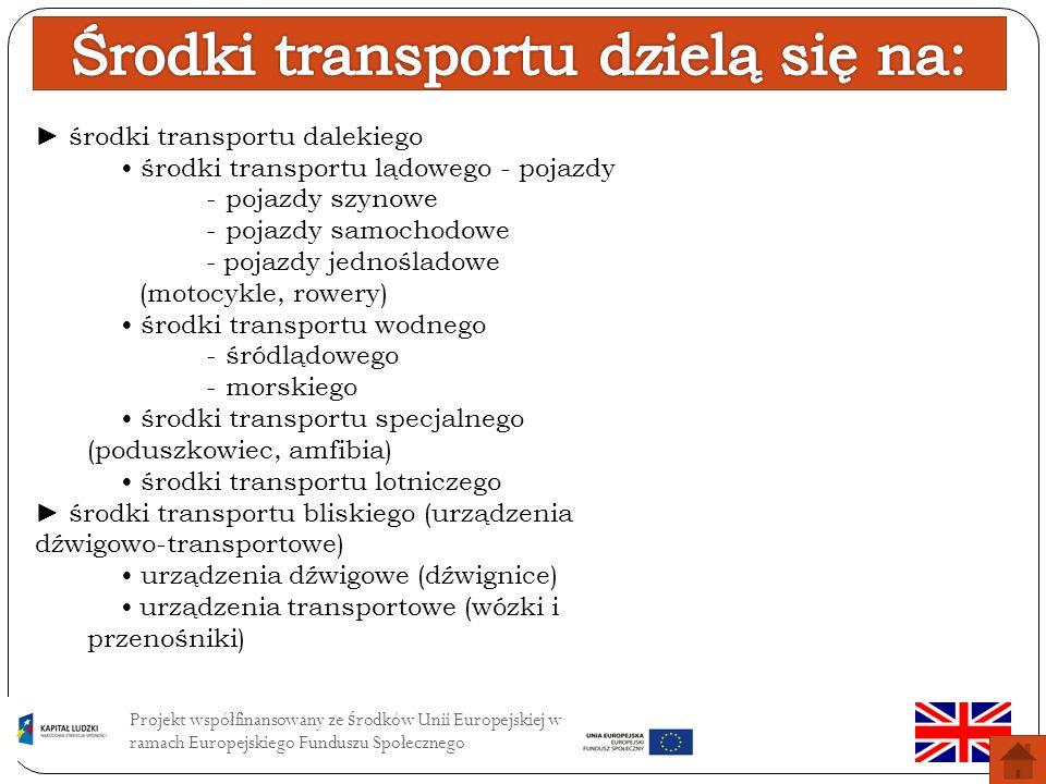Środki transportu dzielą się na: