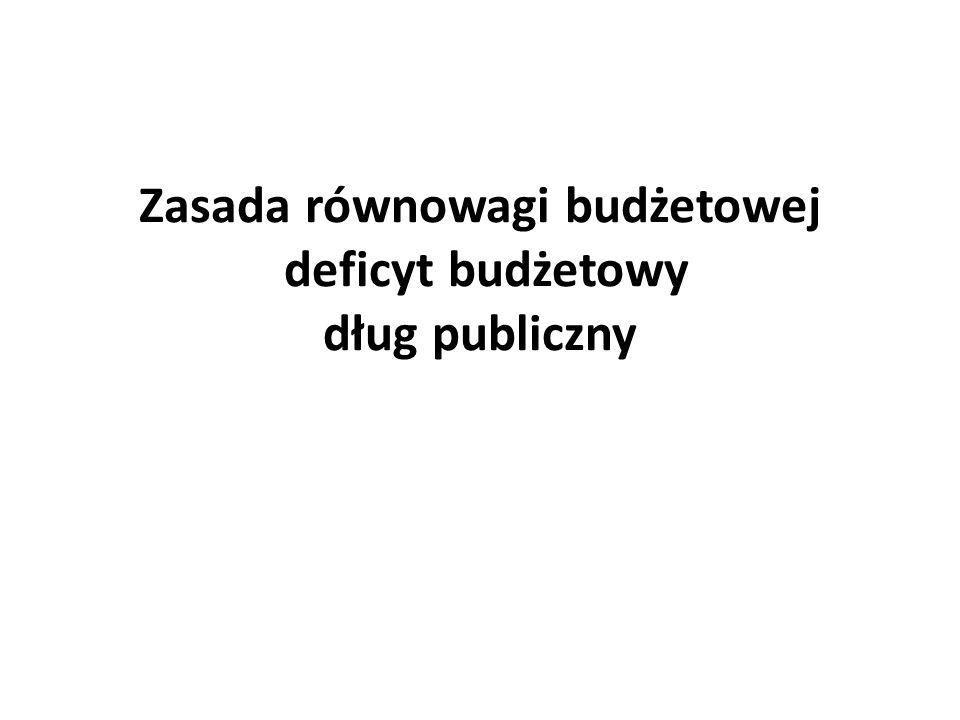 Zasada równowagi budżetowej deficyt budżetowy dług publiczny