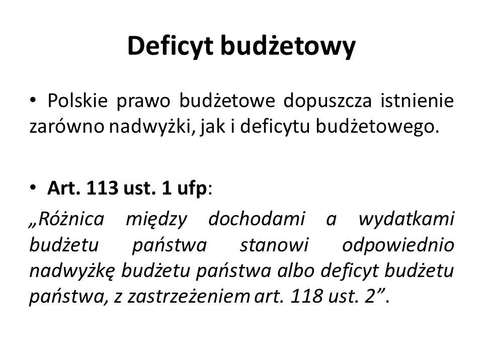 Deficyt budżetowy Polskie prawo budżetowe dopuszcza istnienie zarówno nadwyżki, jak i deficytu budżetowego.