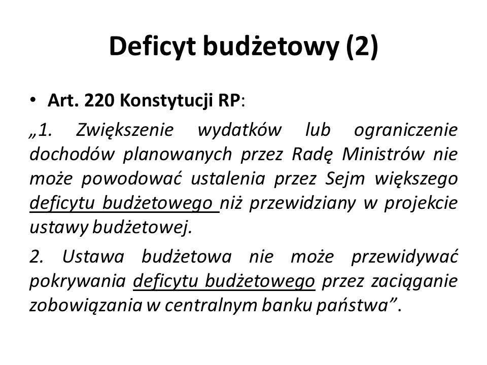 Deficyt budżetowy (2) Art. 220 Konstytucji RP:
