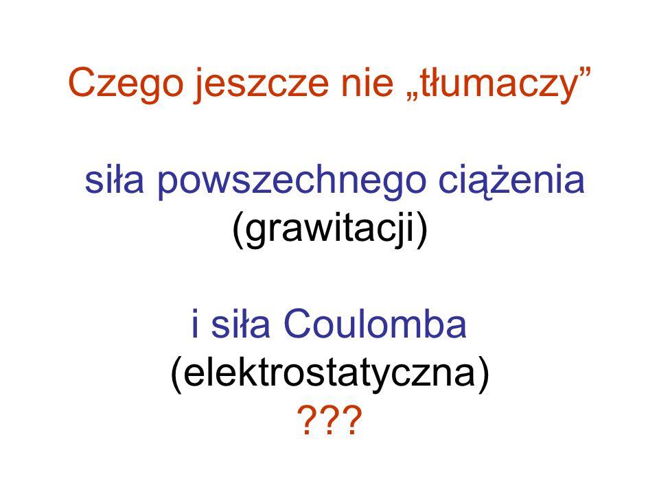"""Czego jeszcze nie """"tłumaczy siła powszechnego ciążenia (grawitacji) i siła Coulomba (elektrostatyczna)"""