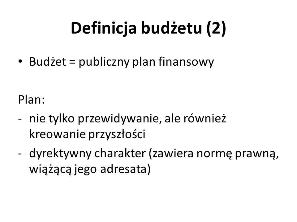 Definicja budżetu (2) Budżet = publiczny plan finansowy Plan:
