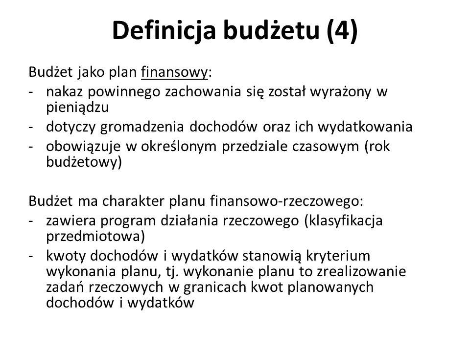 Definicja budżetu (4) Budżet jako plan finansowy:
