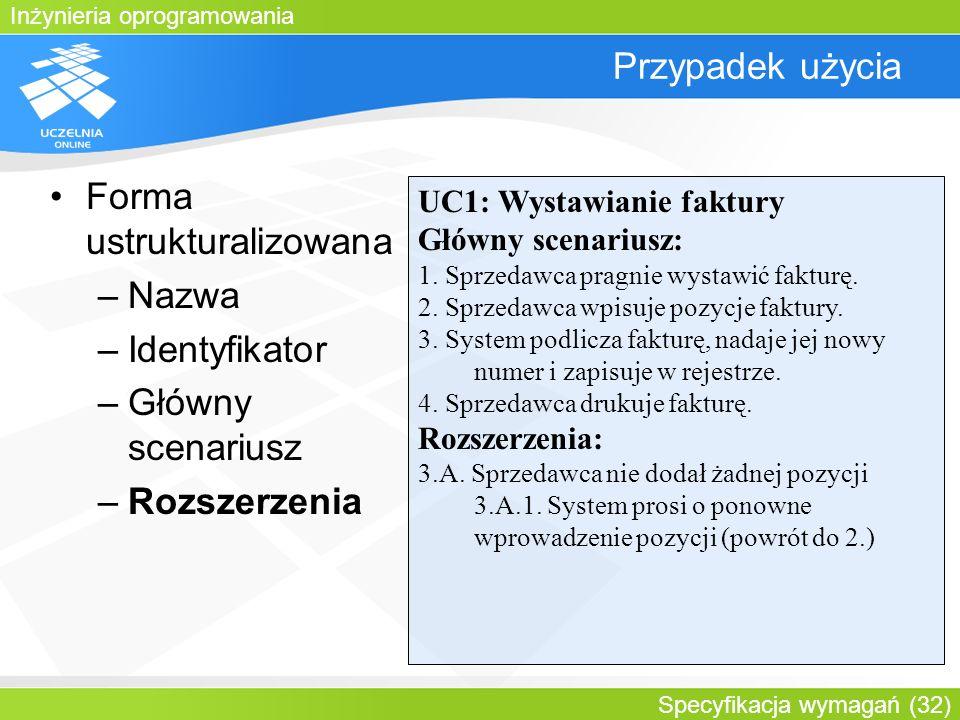 Forma ustrukturalizowana Nazwa Identyfikator Główny scenariusz