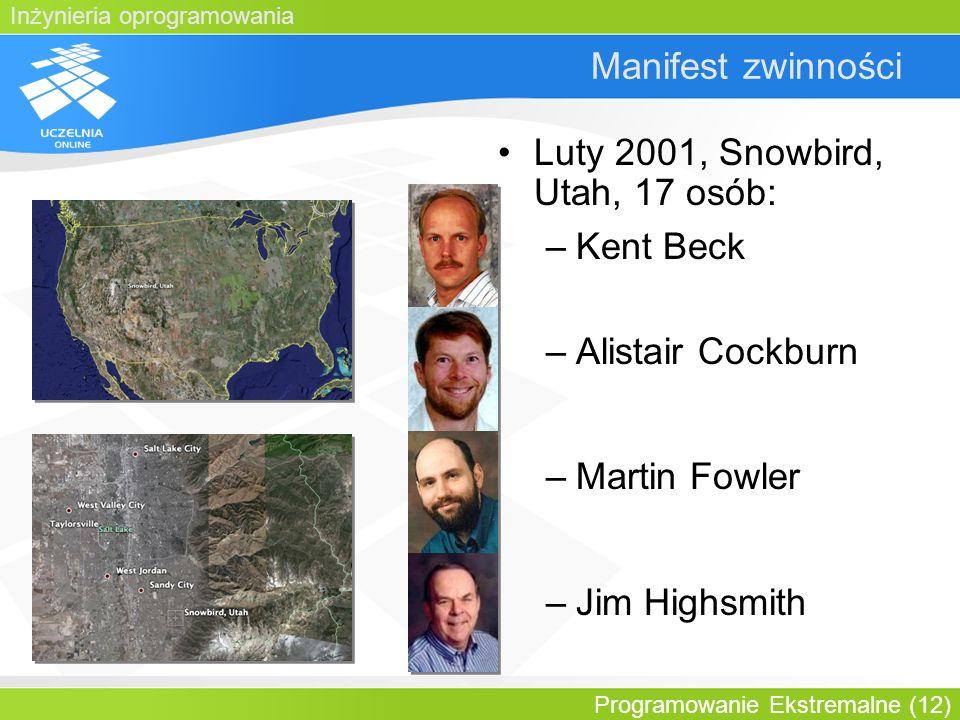 Luty 2001, Snowbird, Utah, 17 osób: Kent Beck Alistair Cockburn