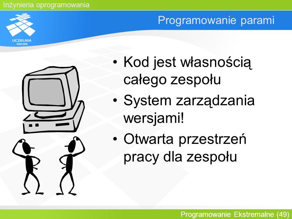 Kod jest własnością całego zespołu System zarządzania wersjami!
