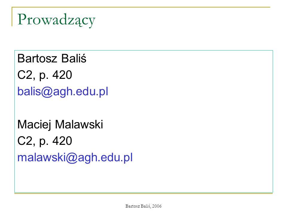 Prowadzący Bartosz Baliś C2, p. 420 balis@agh.edu.pl Maciej Malawski