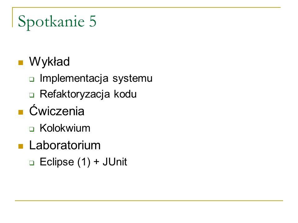 Spotkanie 5 Wykład Ćwiczenia Laboratorium Implementacja systemu