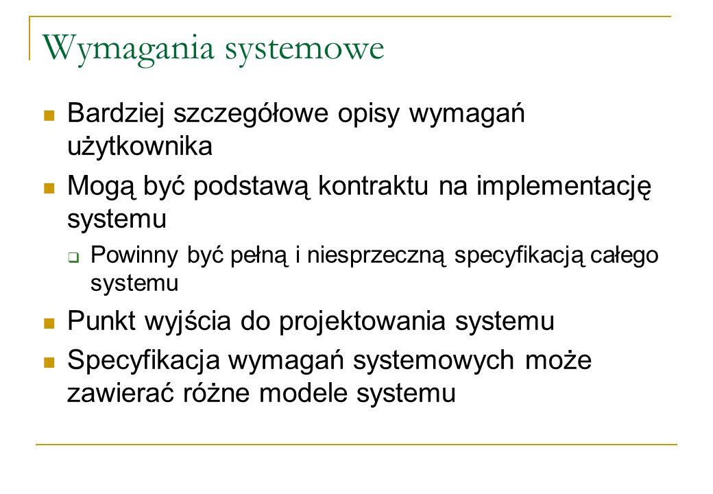 Wymagania systemowe Bardziej szczegółowe opisy wymagań użytkownika