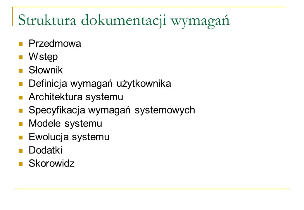 Struktura dokumentacji wymagań