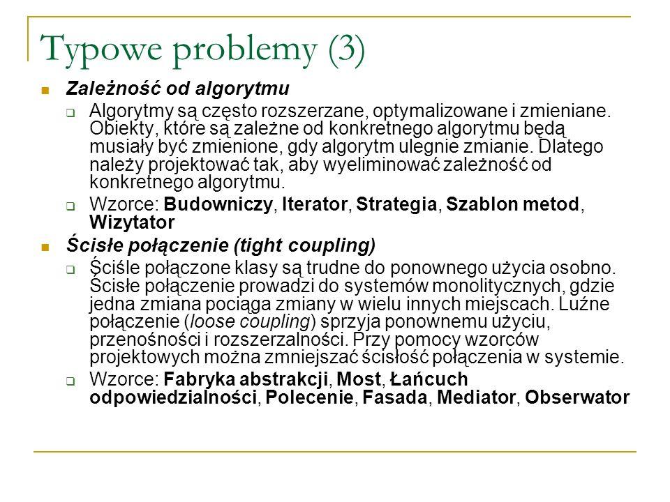 Typowe problemy (3) Zależność od algorytmu