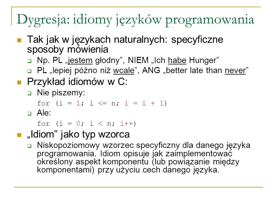 Dygresja: idiomy języków programowania