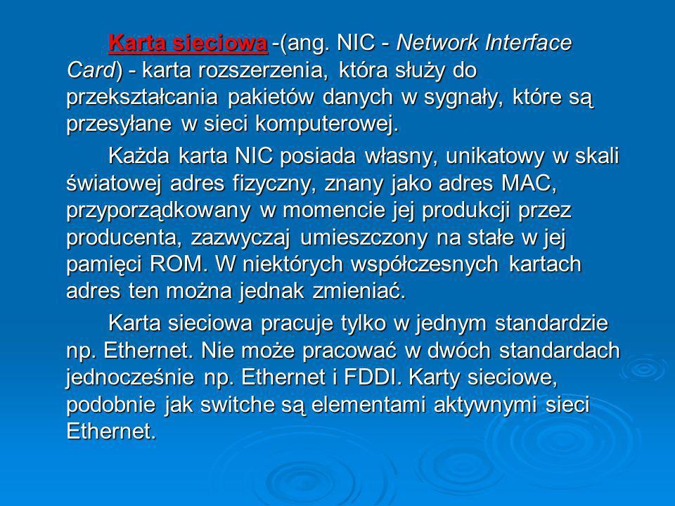 Karta sieciowa -(ang. NIC - Network Interface Card) - karta rozszerzenia, która służy do przekształcania pakietów danych w sygnały, które są przesyłane w sieci komputerowej.